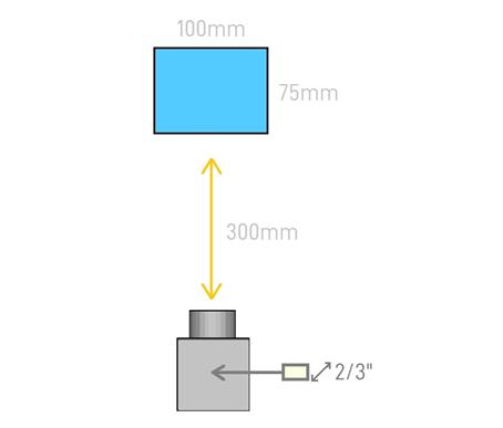 """WD 300mm, Object width 100mm, Object height 75mm, sensor size 2/3""""."""