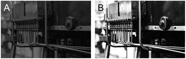 Machine Vision: Industrial Machinery Application viewed with high contrast lens and low contrast lens.